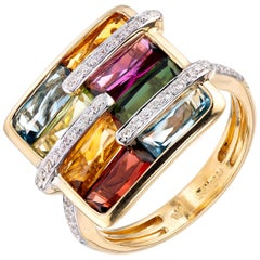 Bellari Boulevard 5.75 Carat Multi-Color Stones Diamond Gold Cocktail Ring