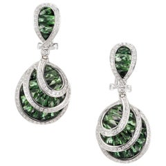 Bellari Le Bouquet 7.50 Carat Green Tourmaline Diamond Gold Dangle Earrings
