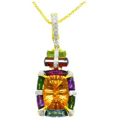 Bellarri 18 Karat Fancy Natural Madeira Citrine and Diamond Necklace Pendant