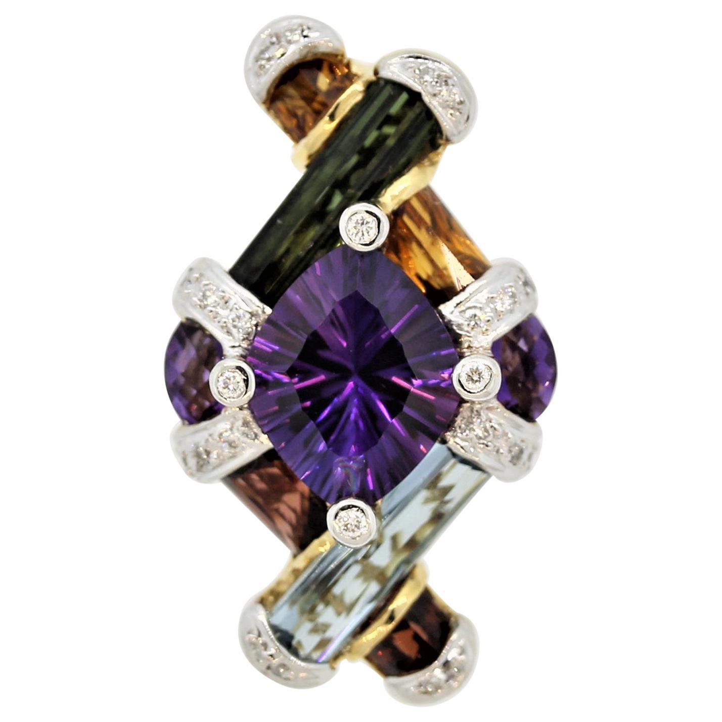 Bellarri Amethyst Diamond Multi-Color Gemstone Gold Pendant