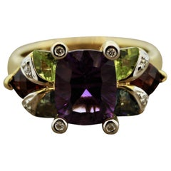 Bellarri Amethyst Multi-Color Gemstone Diamond Gold Ring