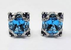 Bellarri Blue Topaz Iolite Diamond Earrings