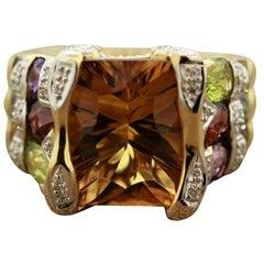 Bellarri Citrine Multi-Color Gemstones Diamond Gold Ring