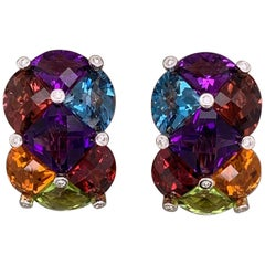 Bellarri Diamond Multi-Color Gemstone Gold Ear-Clip Earrings