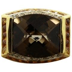 Bellarri Quartz Onyx Diamond Cocktail Gold Ring