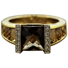 Bellarri Smoky Quartz Citrine Diamond Gold Ring