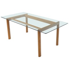 Bellato Contemporary Oak Base Glass Top Dining Conference Table