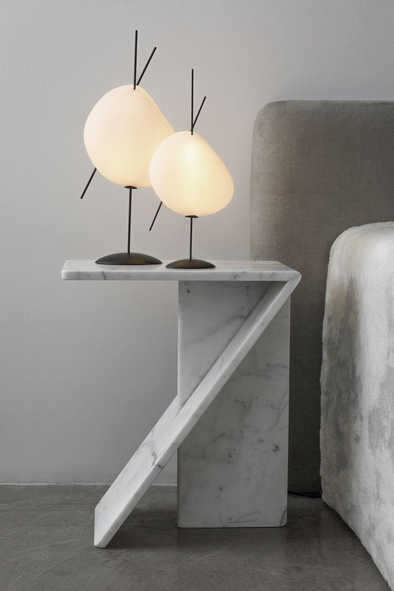 Lacquered Belle de Nuit, Electric Lamp in Ceramic and Metal, L, YMER&MALTA, France For Sale