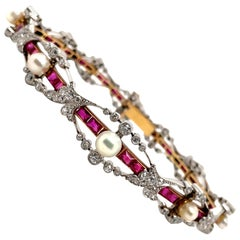 Belle Epoch Natural Pearl Ruby and Diamond Bracelet, circa 1910s