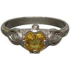 Belle Époque 1.10 Carat Canary Sapphire Platinum Ring