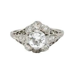 Belle Epoque 1.14 Carats Old European Diamond Platinum Bow Engagement Ring GIA