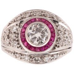 Belle Époque 1.4 Carat Old Cut Diamond and Ruby Cluster Platinum Ring circa 1910