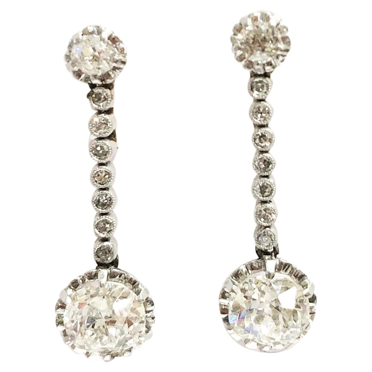Belle Époque 1900s Diamonds Platinum Yellow Gold Dangle Earrings