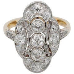 Belle Epoque 2.15 Carat Diamond Panel Ring Plat /Gold French Import Marks