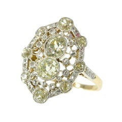 Belle Époque 2.20 Carat Fancy Yellow Diamond 18 Karat Gold Engagement Ring