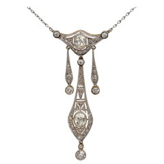 Belle Époque 2.40 Carat Diamond Platinum Negligee Necklace