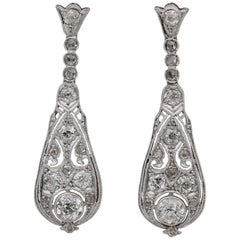 Belle Epoque 3.60 Carat Old Cut Diamond Platinum Drop Earrings