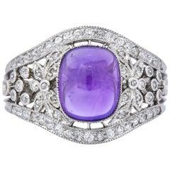 Belle Époque 3.75 Carat Amethyst Diamond Platinum Lacy Ring, circa 1910