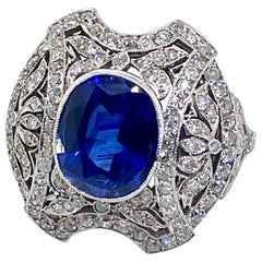 Belle Époque Style 6.00 Carat Blue Sapphire and Diamond Platinum Ring