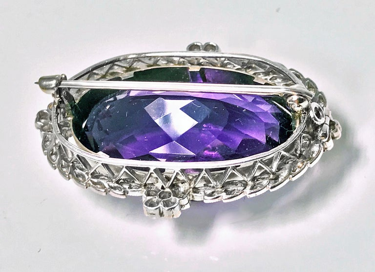 Belle Époque Amethyst Diamond Brooch Pendant In Good Condition For Sale In Toronto, ON