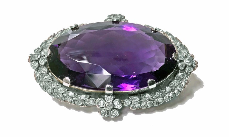 Women's or Men's Belle Époque Amethyst Diamond Brooch Pendant For Sale