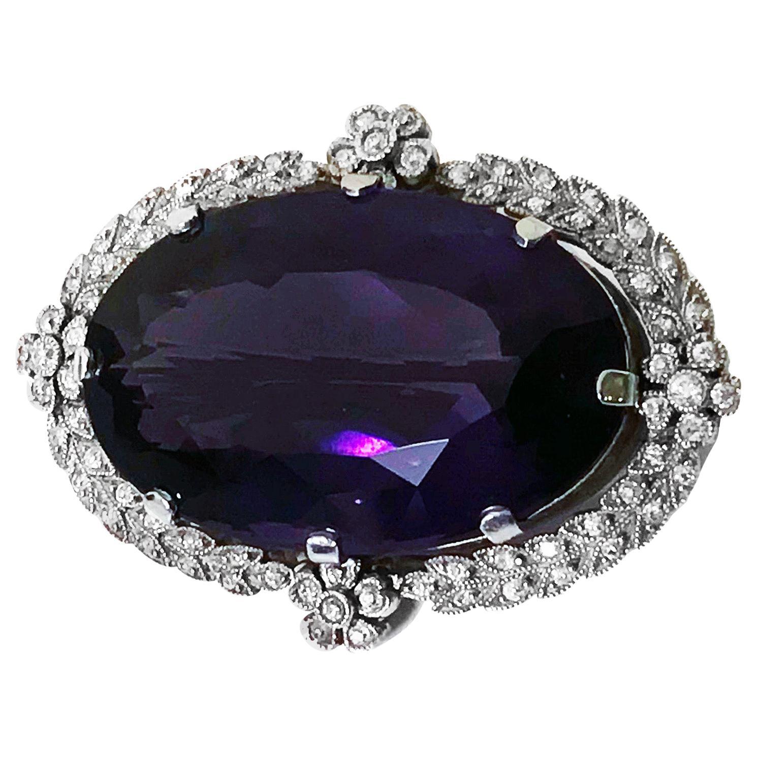 Belle Époque Amethyst Diamond Brooch Pendant