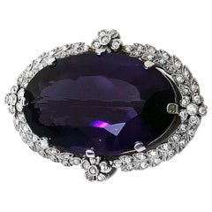 Belle Époque Amethyst Diamond Brooch Pendant