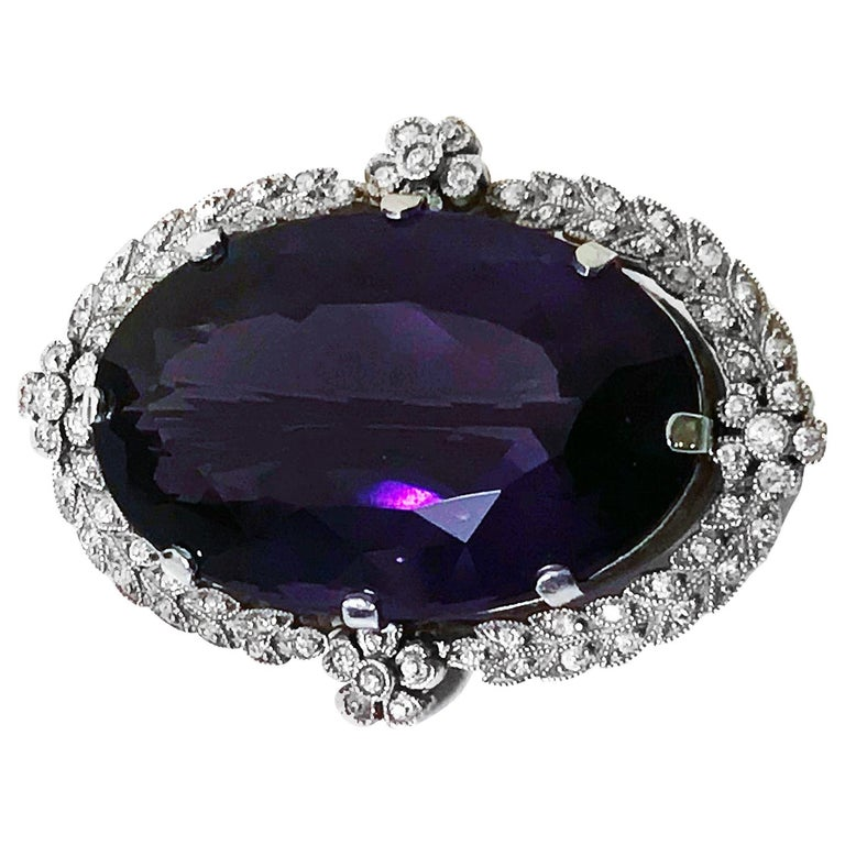Belle Époque Amethyst Diamond Brooch Pendant For Sale