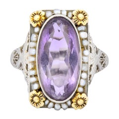 Belle Époque Amethyst Pearl 14 Karat Two-Tone Gold Cocktail Ring