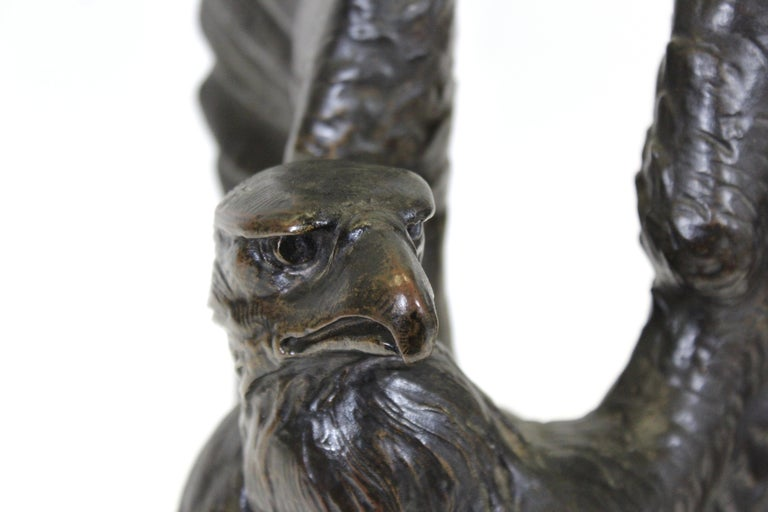 Belle Epoque Animalier Bronze Eagle Sculpture In Good Condition For Sale In New York, NY