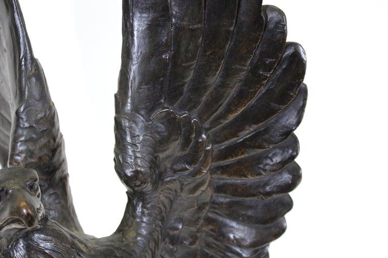 19th Century Belle Epoque Animalier Bronze Eagle Sculpture For Sale