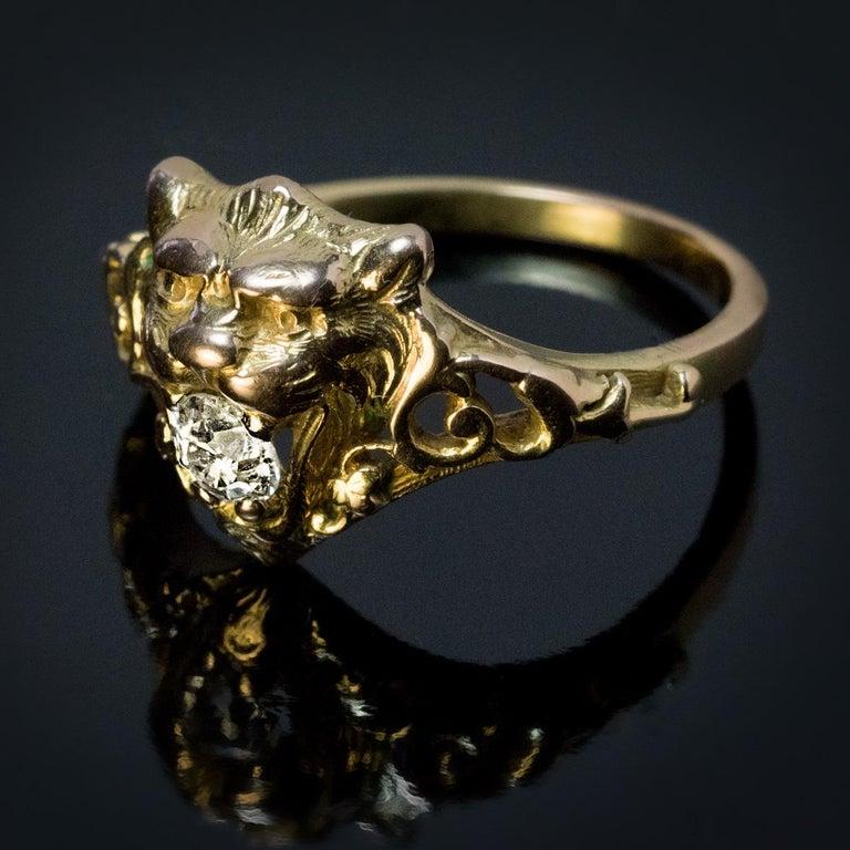 Victorian Belle Époque Antique Diamond Gold Lion Ring For Sale