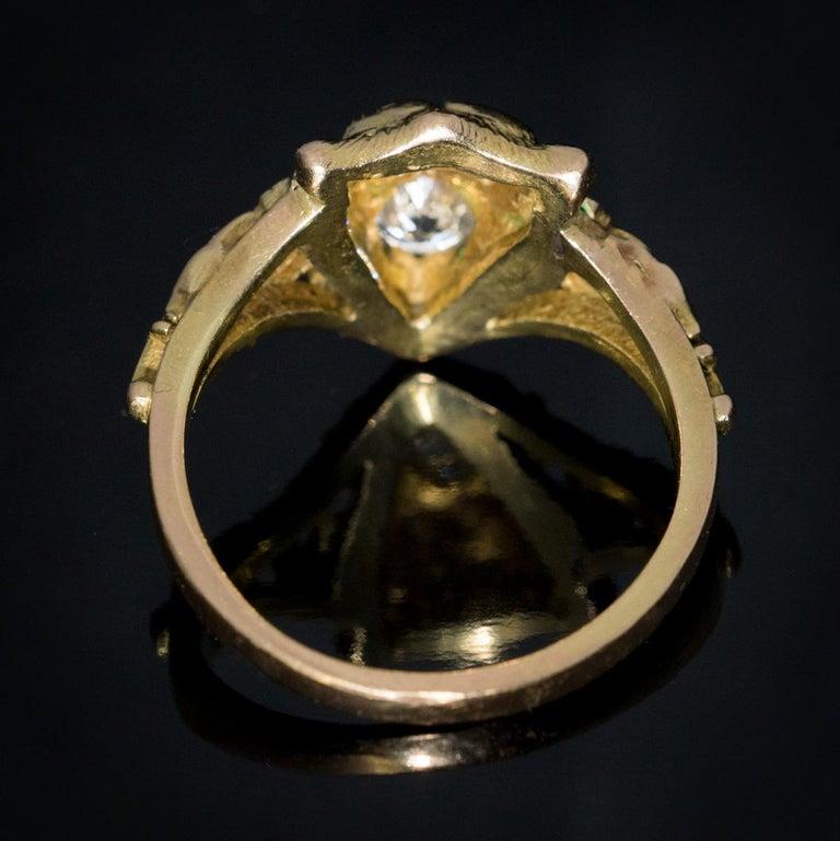 Women's or Men's Belle Époque Antique Diamond Gold Lion Ring For Sale