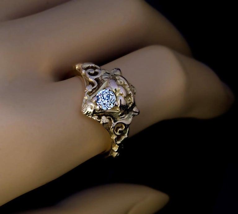 Belle Époque Antique Diamond Gold Lion Ring For Sale 1