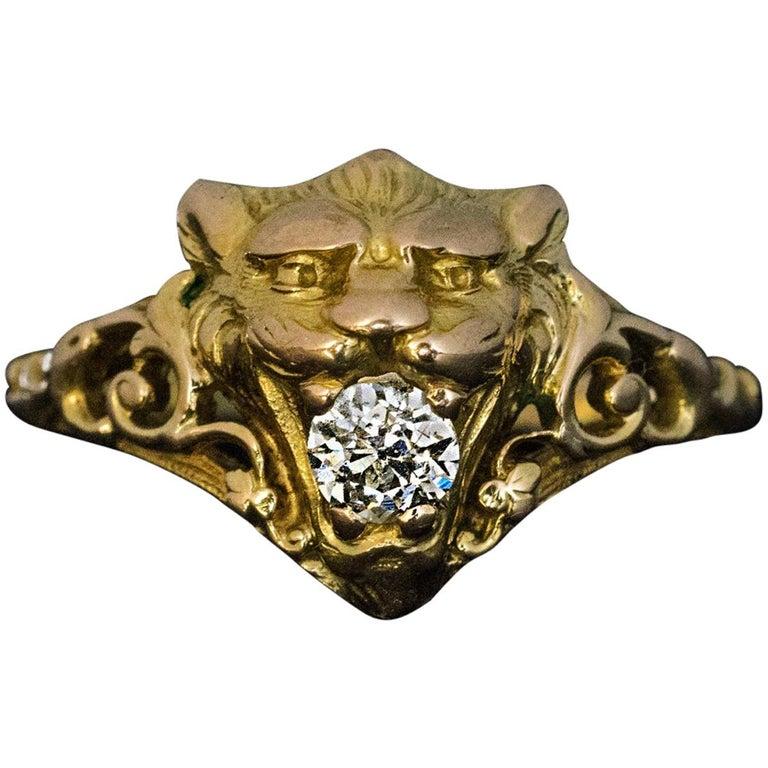 Belle Époque Antique Diamond Gold Lion Ring For Sale