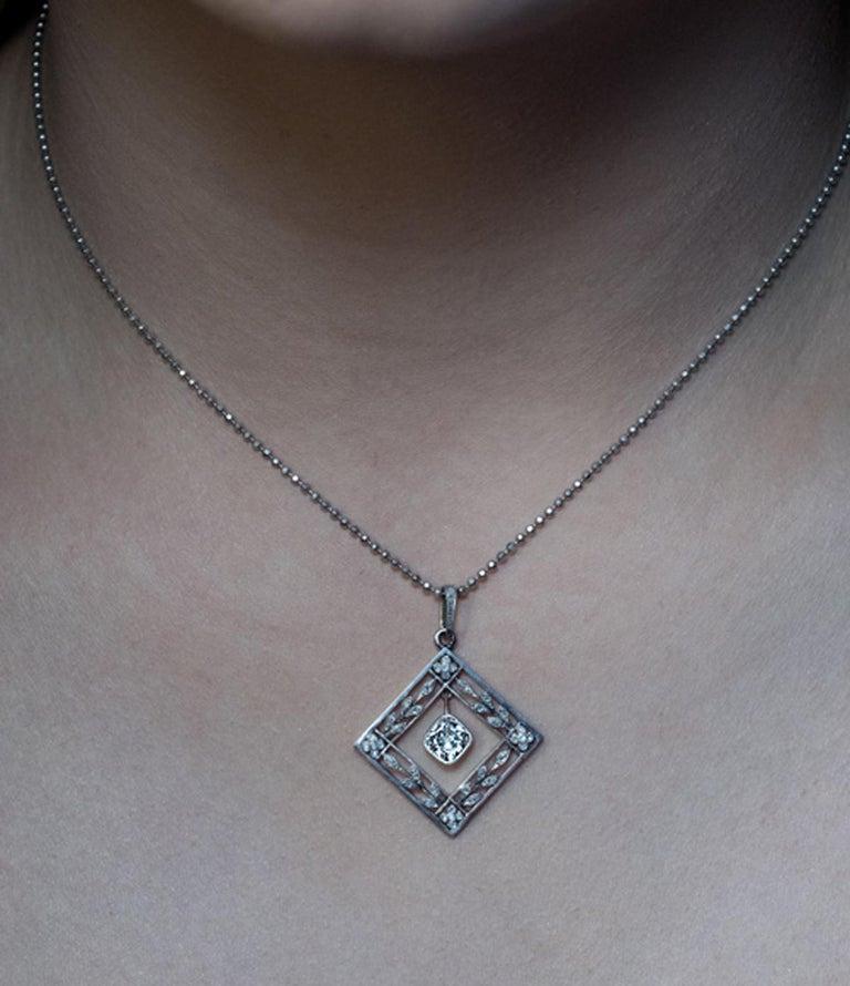 Belle Époque Belle Epoque Antique Diamond Platinum Gold Pendant For Sale