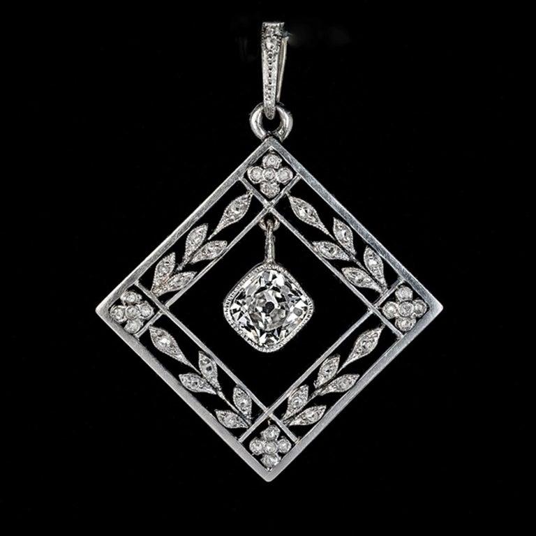 Belle Epoque Antique Diamond Platinum Gold Pendant In Excellent Condition For Sale In Chicago, IL