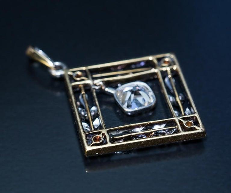 Women's Belle Epoque Antique Diamond Platinum Gold Pendant For Sale