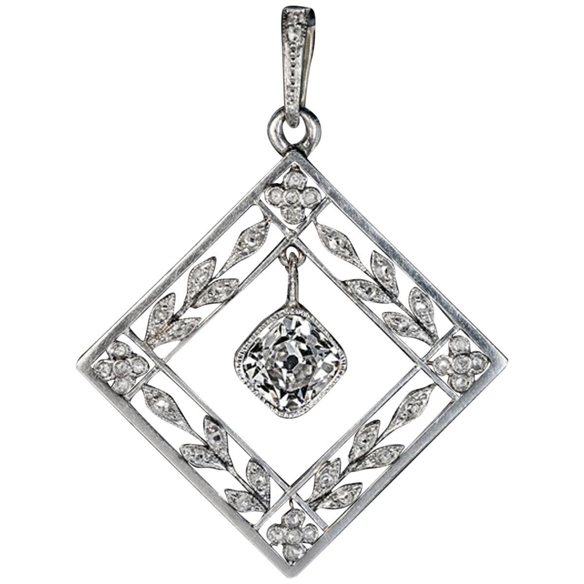 Belle Epoque Antique Diamond Platinum Gold Pendant