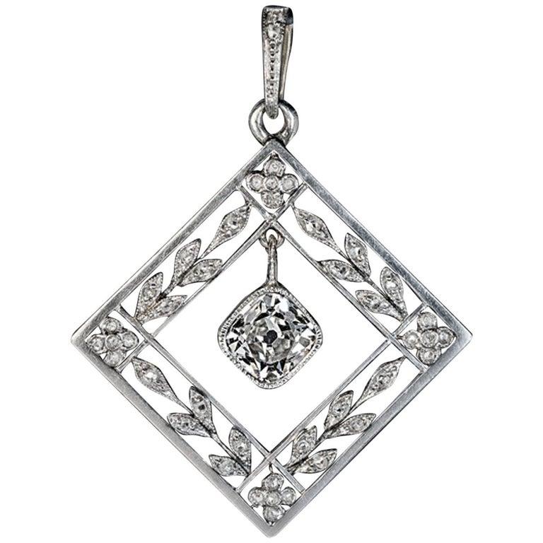 Belle Epoque Antique Diamond Platinum Gold Pendant For Sale