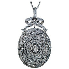 Belle Époque Antique Diamond Platinum Locket Necklace