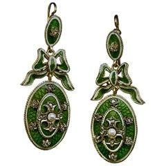 Belle Epoque Antique Enamel Diamond Pearl Dangle Earrings