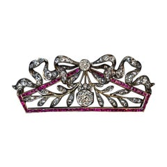 Belle Époque Antique Russian Diamond Ruby Brooch