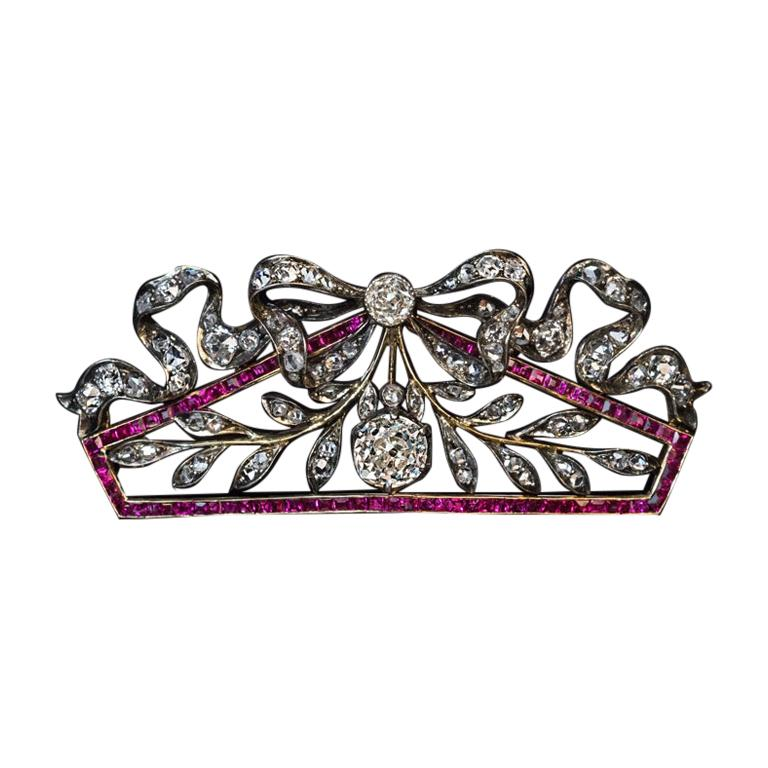 Belle Époque Antique Russian Diamond Ruby Brooch For Sale