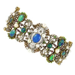 Belle Époque/Art Nouveau Bracelet with Opals, Pearls and Diamonds by Rothmuller