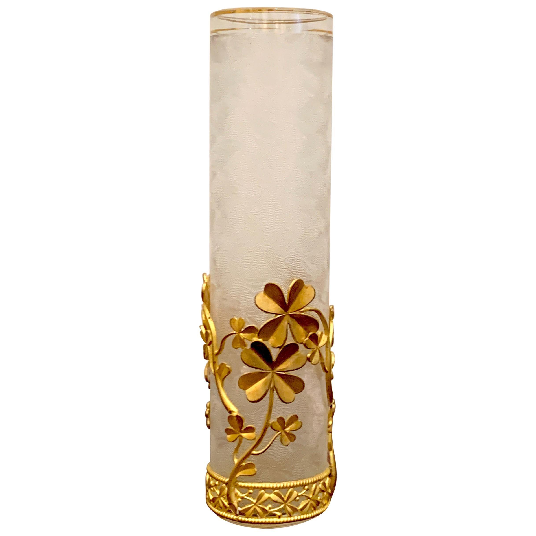 Belle Epoque Baccarat Attributed Four-Leaf Clover Ormolu Mounted Vase