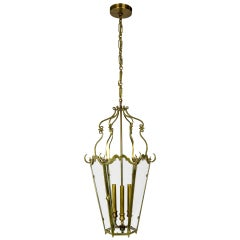 Belle Epoque Brass Tapered Hex Lantern