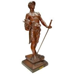 """Belle Époque Bronze Statue Titled """"En Triomphe"""" by Antoine Bofill"""