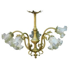 Belle Époque Chandelier Gilt Bronze and Glass French Louis XV Revival circa 1900