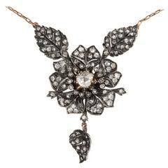Belle Époque circa 1880, Rose Cut Diamond Silver Gold Floral Pendant Necklace